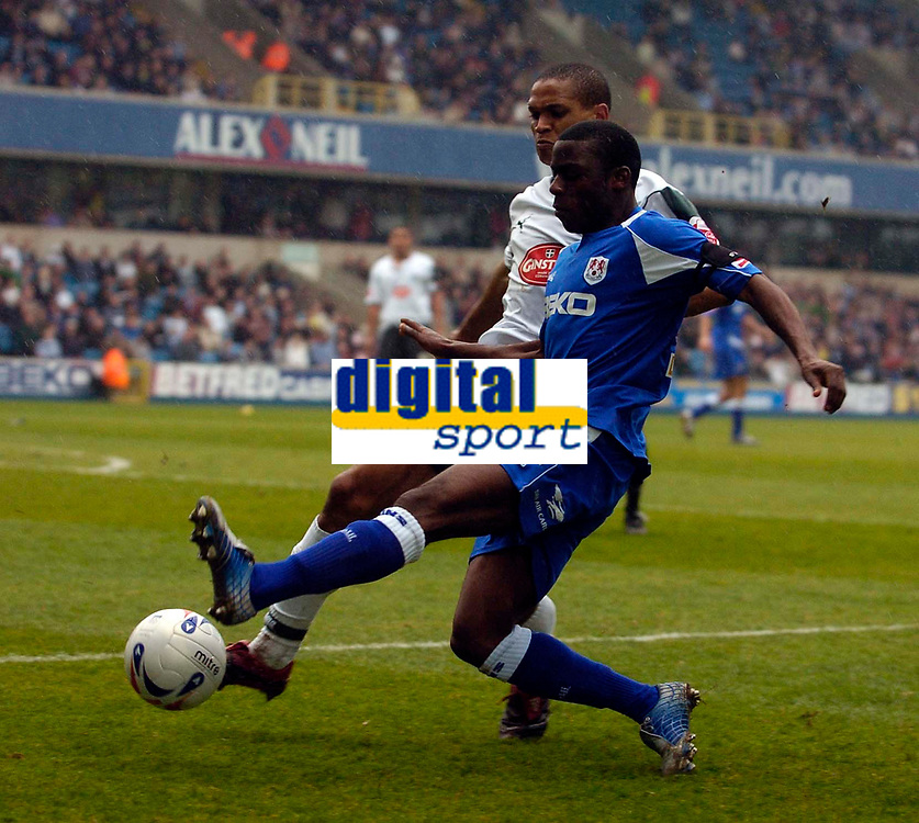 Photo: Alan Crowhurst.<br />Millwall v Plymouth Argyle. Coca Cola Championship. 15/04/2006. Marvin Williams gets a cross in for Millwall..