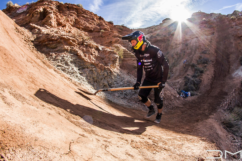 Brandon Semenuk finishing one of his jumps at Red Bull Rampage 2016.