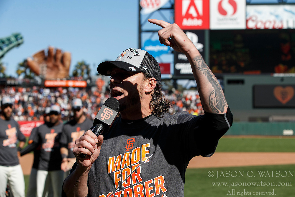 SAN FRANCISCO, CA - OCTOBER 02: Jake Peavy #22 of the San Francisco Giants addresses fans after the game against the Los Angeles Dodgers at AT&T Park on October 2, 2016 in San Francisco, California. The San Francisco Giants defeated the Los Angeles Dodgers 7-1. (Photo by Jason O. Watson/Getty Images) *** Local Caption *** Jake Peavy