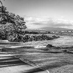 Mokapu Beach Wailea Beach black and white photo in Wailea Makena Maui Hawaii with Kaho'olawe Island Reserve in the background. Copyright ⓒ 2019 Paul Velgos with All Rights Reserved.
