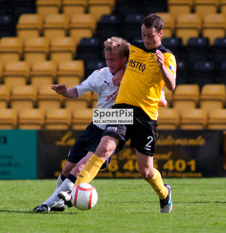 Jonathon Brown holds off Craig Sibbald, Livingston v Falkirk, SFL Division 1