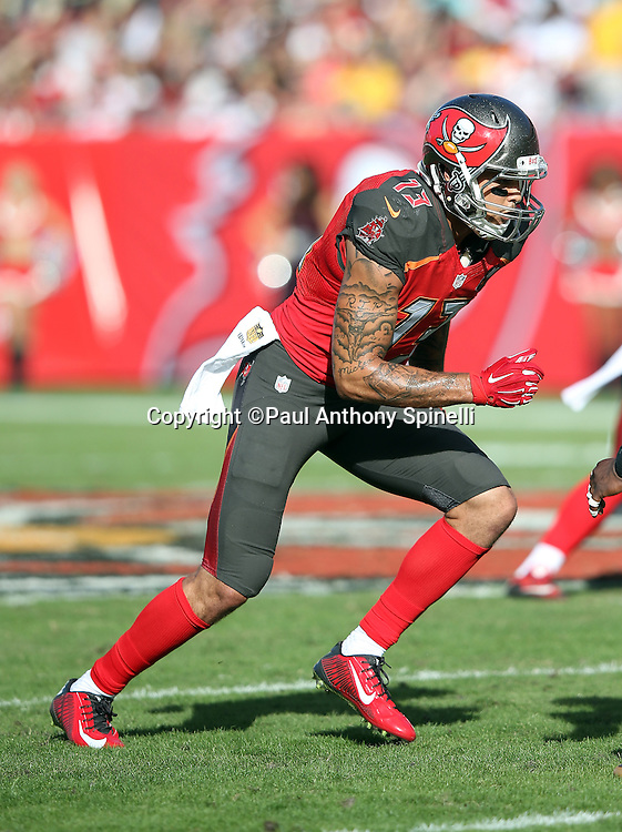 Tampa Bay Buccaneers wide receiver Mike Evans (13) goes out for a pass during the 2015 week 14 regular season NFL football game against the New Orleans Saints on Sunday, Dec. 13, 2015 in Tampa, Fla. The Saints won the game 24-17. (©Paul Anthony Spinelli)