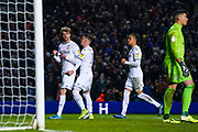 Leeds United forward Patrick Bamford (9) scores a penalty  goal and celebrates to make the score 3-0 during the EFL Sky Bet Championship match between Leeds United and Cardiff City at Elland Road, Leeds, England on 14 December 2019.