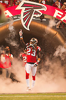 20 January 2013: Cornerback (23) Dunta Robinson of the Atlanta Falcons enters the field during player introductions before the San Francisco 49ers 28-24 victory over the Falcons in the NFC Championship Game at the Georgia Dome in Atlanta, GA.