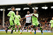 Fulham midfielder Neeskens Kebano (7) and Wolverhampton Wanderers defender Kortney Hause (30) battle for the ball during the EFL Sky Bet Championship match between Fulham and Wolverhampton Wanderers at Craven Cottage, London, England on 18 March 2017. Photo by Andy Walter.