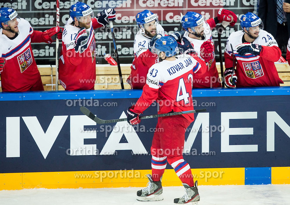 Jan Kovar of Czech Republic celebrates after scoring third goal for Czech Republic during Ice Hockey match between Finland and Czech Republic at Quarterfinals of 2015 IIHF World Championship, on May 14, 2015 in O2 Arena, Prague, Czech Republic. Photo by Vid Ponikvar / Sportida