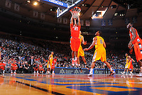 Syracuse center Arinze Onuaku #21 dunks the ball against the California Golden Bears at the 2K Sports Classic at Madison Square Garden. (Mandatory Credit: Delane Rouse Photography)