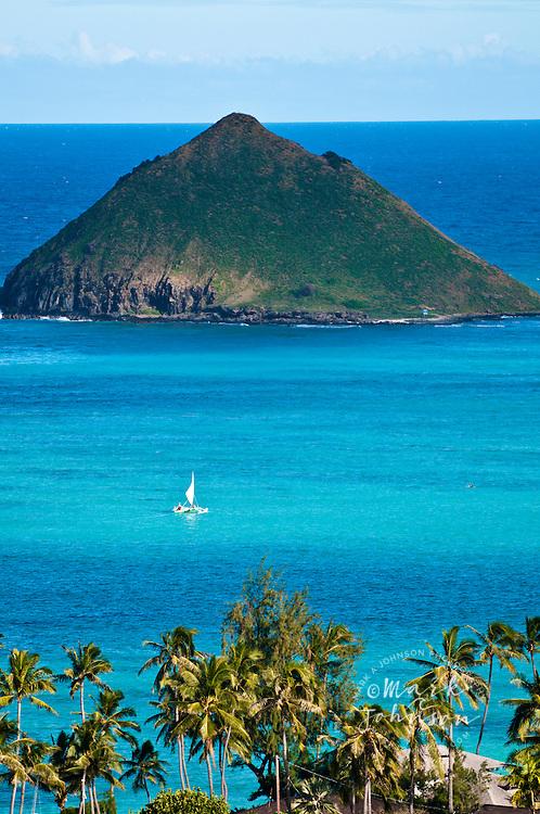 Sailboat off the Mokulua Islands, Lanikai, Oahu, Hawaii