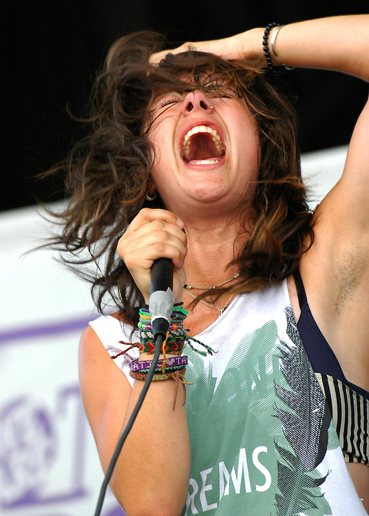 Tay Jardine, Vocalist of We are the in crowd, lets loose at the Vans Warped Tour stop in Atlanta, Georgia