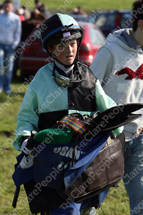 Mark Monaghan making his way to the weigh tent after the fourth race at the annual Lisdoonvarna races at the weekend.<br /> Photograph by Yvonne Vaughan