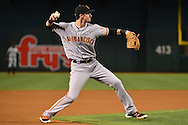 PHOENIX, AZ - MAY 14:  Matt Duffy #5 of the San Francisco Giants makes the out at first base against the Arizona Diamondbacks in the first inning at Chase Field on May 14, 2016 in Phoenix, Arizona.  (Photo by Jennifer Stewart/Getty Images)
