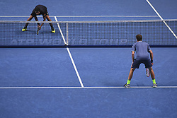 November 19, 2017 - London, England, United Kingdom - Henri Kontinen of Finland and John Peers of Australia (2) in action against Lukasz Kubot of Poland and Marcelo Melo of Brazil (1) in the doubles final today - Kontinen / Peers def Kubot / Melo 6-4, 6-2 at O2 Arena on November 19, 2017 in London, England. (Credit Image: © Alberto Pezzali/NurPhoto via ZUMA Press)