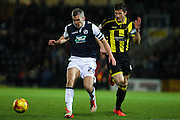 Millwall FC forward Steve Morison on the attack during the Sky Bet League 1 match between Burton Albion and Millwall at the Pirelli Stadium, Burton upon Trent, England on 1 December 2015. Photo by Aaron Lupton.
