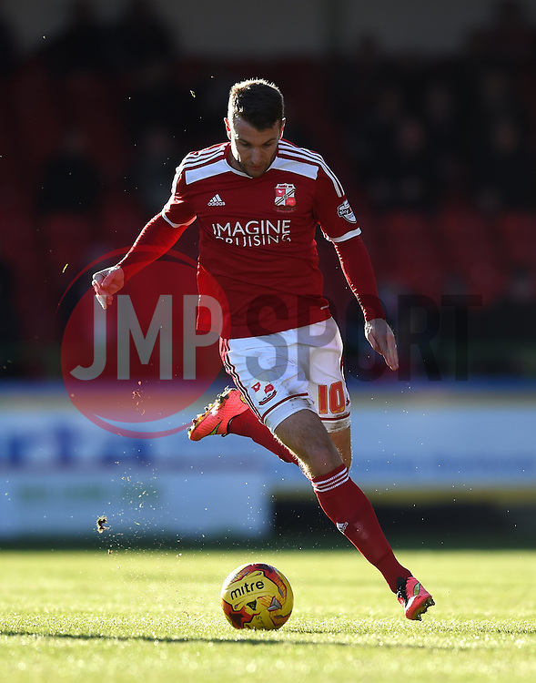 Swindon Town's Andy Williams in action during the Sky Bet League One match between Swindon Town and Crawley Town at The County Ground on 21 February 2015 in Swindon, England - Photo mandatory by-line: Paul Knight/JMP - Mobile: 07966 386802 - 21/02/2015 - SPORT - Football - Swindon - The County Ground - Swindon Town v Crawley Town - Sky Bet League One