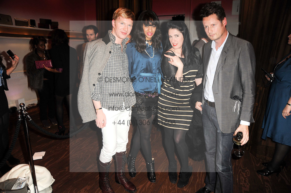 Left to right, HENRY CONWAY, JOY VIELI, AMY MOLYNEAUX and PERCY PARKER at a party to celebrate the launch of the Nokia X6 16GB phone held at Sketch, 9 Conduit Street, London on 3rd March 2010.