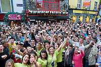 "Galway, IRELAND - SEPTEMBER 23: Celebrating Arthur's day  in Galway, Ireland. Celebrations began in the famous brewery with a worldwide Guinness toast ""To Arthur"" followed by celebrations and events around the world and live music events in Ireland, the USA, the Caribbean and Asia. Arthur's Day continues the philanthropic legacy of Arthur Guinness through the Arthur Guinness Fund which supports social entrepreneurial projects around the world. Photo by Andrew Downes."