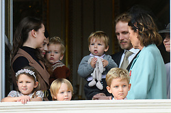 Beatrice Borromeo, Princess Caroline of Hanover, Princess Alexandra of Hanover, India Casiraghi, Stefano Ercole Casiraghi, Alexandre Andrea Casiraghi, Maximilian Casiraghi, Francesco Casiraghi, Andrea Casiraghi are attending the military parade held in the Palace Square, during the National Day ceremonies, Monaco Ville (Principality of Monaco), on November 19, 2019. Photo by Marco Piovanotto/ABACAPRESS.COM