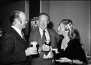 "Guinness Launch ""Guinness Light"".  (M79)..1979..26.06.1979..06.26.1979..26th June 1979..At the Guinness Theatre in St James Gate Brewery,Guinness launched ""Guinness Light"". With a spectacular show Guinness brought to the market a new lighter version of its world famous stout. it is hoped that it will fill a niche with younger drinkers frequenting Ireland's pubs and clubs..Jim Stewart, Home Sales Manager,G G S, Ted McGovern, Outgoing Chairman,Dublin Licensed Vitners Assoc and mrs Anne O'Doherty were pictured at the launch of Guinness Light."