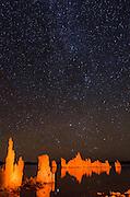 Stars over tufa formations at night, Mono Lake, Mono Basin National Scenic Area, California USA
