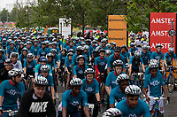 The PruGOals riders leave the start line at the Queen Elizabeth Olympic Park. The Prudential RideLondon Sportives. Sunday 29th July 2018<br /> <br /> Photo: Andrew Baker for Prudential RideLondon<br /> <br /> Prudential RideLondon is the world's greatest festival of cycling, involving 100,000+ cyclists - from Olympic champions to a free family fun ride - riding in events over closed roads in London and Surrey over the weekend of 28th and 29th July 2018<br /> <br /> See www.PrudentialRideLondon.co.uk for more.<br /> <br /> For further information: media@londonmarathonevents.co.uk