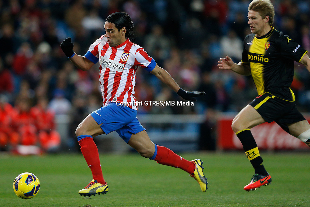 13.01.2013 SPAIN -  La Liga 12/13 Matchday 19th  match played between Atletico de Madrid vs Real Zaragoza (2-0) at Vicente Calderon stadium. The picture show  Radamel Falcao Garcia (Colombian striker of At. Madrid)