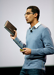 Google SVP of Chrome Sundar Pichai, introduces new products and improvements for Chrome , including the Chromebox, during the Google I/O Developer Conference in San Francisco, California.