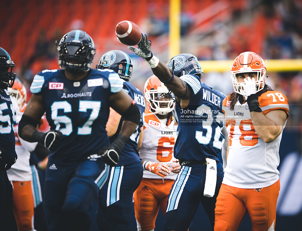 James Wilder Jr. (32) of the Toronto Argonauts during the game against the BC Lions at BMO Field in Toronto, On., Friday, June 29, 2017. (Photo: Johany Jutras)