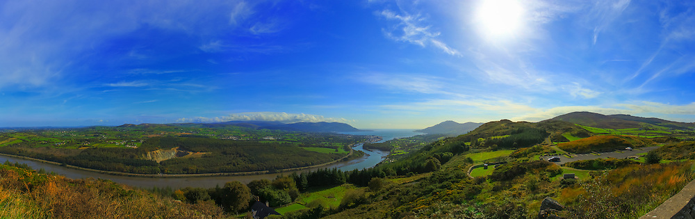 View from Flagstaff viewpoint overlooking the Newry River, Warrenpoint, the Mourne Mountains, Carlingford Lough and the Cooley Mountains.