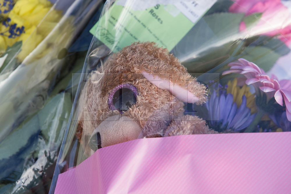 © Licensed to London News Pictures . 11/02/2014 . Blackburn , UK . Flowers and a teddy bear left at the scene by two boys . Police and forensic examiners on Emily Street in Blackburn at the scene where an eleven month old baby girl was mauled to death late last night (10th February 2014) . Photo credit : Joel Goodman/LNP