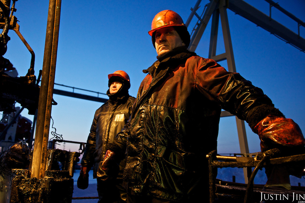 A LUKoil worker repairs a drilling well in the Komi Region in the Russian Arctic, home to some of the world's largest natural gas deposits.