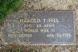 31 August 2017:   Veterans graves in Park Hill Cemetery in eastern McLean County.<br /> <br /> Harold T Hill  Private First Class US Army  World War II  Nov 21 1920  Apr 30 1988
