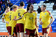 Burnley striker Andre Gray celebrates second goal 1-2 during the Sky Bet Championship match between Birmingham City and Burnley at St Andrews, Birmingham, England on 16 April 2016. Photo by Alan Franklin.