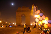 india gate late at night, delhi, india