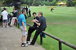 Left to right, JAMES NESBITT, VERNON KAY and TIM LOVEJOY at the Mini Masters Golf tournament in aid of LEUKA - London's celebrity golf tournament held at Duke's Meadow Golf Club, Dan Mason Drive, London W4 on 17th July 2009.