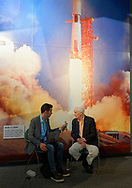 Garden City, New York, U.S. June 6, 2019. RUSTY SCHWEICKART, Apollo 9 astronaut is interviewed in front of mural of Apollo 11 launch, during Cradle of Aviation Museum's Apollo Astronauts Press Conference during its day of events celebrating 50th Anniversary of Apollo 11.