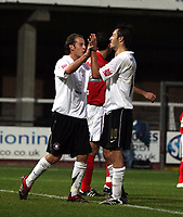Photo: Mark Stephenson/Sportsbeat Images.<br /> Hereford United v Darlington. Coca Cola League 2. 03/11/2007.Hereford's Clint Easton (R)  celebrates his goal and Hereford's 5th