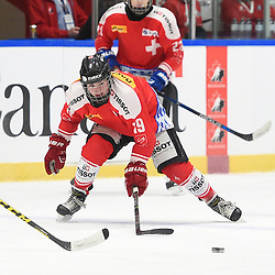 WHITBY, - Dec 15, 2015 -  WJAC Game 6 - Team Russia vs Team Switzerland at the 2015 World Junior A Challenge at the Iroquois Park Recreation Complex, ON. Axel Simic #19 of Team Switzerland skates after the puck during the second period.<br /> (Photo: Andy Corneau / OJHL Images)