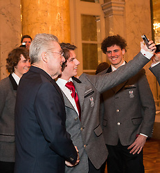 29.01.2014, Hofburg, Wien, AUT, Sochi 2014, Vereidigung OeOC, im Bild Bundespräsident Heinz Fischer wird von Marco Ladner fotografiert // Austrians President Heinz Fischer with Marco Ladner  during the swearing-in of the Austrian National Olympic Committee for Sochi 2014 at the  Hofburg in Vienna, Austria on 2014/01/29. EXPA Pictures © 2014, PhotoCredit: EXPA/ JFK