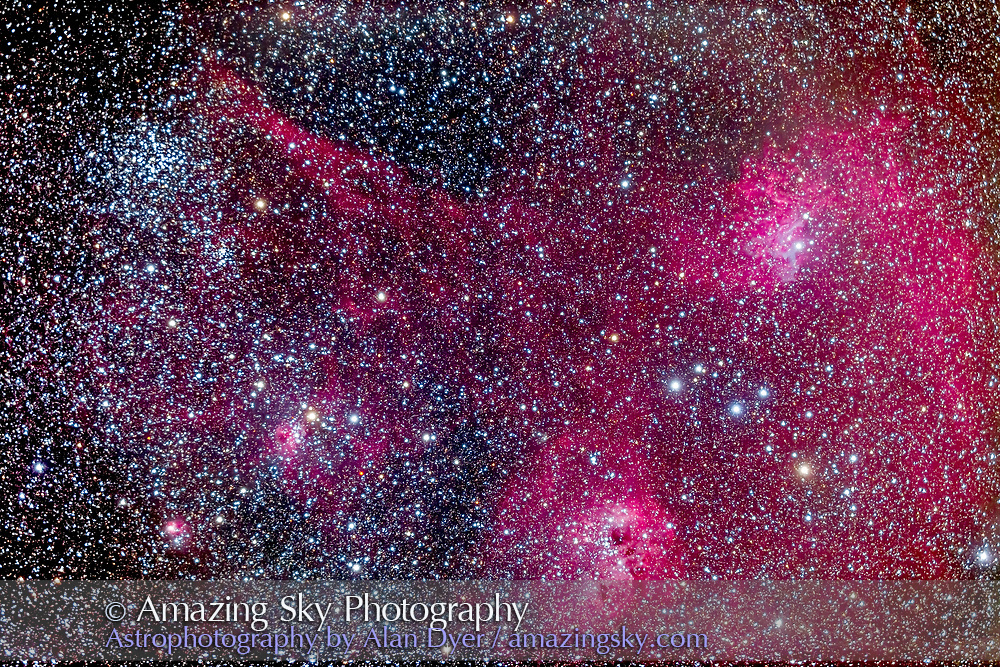 The complex area of clusters and nebulosity in central Auriga, including: M38 the Starfish Cluster and its smaller companion cluster NGC 1907; the emission/reflection nebulas NGC 1931, IC 417, IC 410 and IC 405 (from right to left here). Magenta and cyan (from emission and reflection components) IC 405 at right is the Flaming Star Nebula. Between IC 405 and IC 410 is the asterism known as The Little Fish. This is a stack of 8 x 7 minute exposures at ISO 800 with the modified Canon 6D on the TMB 92mm apo refractor at f/4.8 with the Borg 0.85x compressor flattener. The night was a little hazy. The field is turned slightly from being oriented with North up as is usual for me, to frame the area better. North is toward about 10 o'clock on this frame.