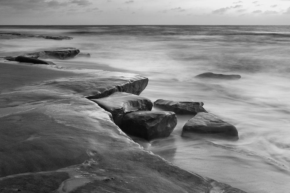 Rock Formations At High Tide La Jolla Shoreline Dusk Black