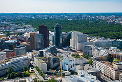 Skyline view over Potsdamer Platz towards Tiergarten , Berlin, Germany