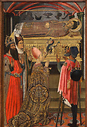 Princess Eudoxia before the Tomb of St Stephen, 1495-1500, tempera, stucco relief and gold leaf on wood, by Vergos Group, in Gothic style, in the Museu Nacional d'Art de Catalunya, Barcelona, Spain. This panel depicts the Byzantine princess Eudoxia with her parents, Emperor Theodosius II and Empress Eudoxia, on a pilgrimage being exorcised of a demon by St Stephen in a posthumous miracle. On the right a disabled man also awaits a cure. This is a panel on the altarpiece of Sant Esteve de Granollers. The MNAC holds 13 panels from this altarpiece, of which 9 were painted by the Vergos workshop, and 4, part of the dust-shield, are attributed to Joan Gasco, d. 1529. The altarpiece is originally from the high altar of the parish church of Sant Esteve de Granollers, Valles Oriental, Spain. Picture by Manuel Cohen