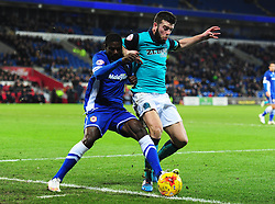 Blackburn Rovers's Grant Hanley Battles for the ball with Cardiff City's Bruno Ecuele Manga - Photo mandatory by-line: Alex James/JMP - Mobile: 07966 386802 - 17/02/2015 - SPORT - Football - Cardiff - Cardiff City Stadium - Cardiff City v Blackburn Rovers - Sky Bet Championship