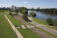 Hartford riverfront parks on Connecticut River at high water from Charter Oak Bridge, Hartford, CT