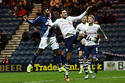 Birmingham City midfielder Jacques Maghoma  and Preston North End Defender Greg Cunningham battle during the Sky Bet Championship match between Preston North End and Birmingham City at Deepdale, Preston, England on 15 December 2015. Photo by Pete Burns.