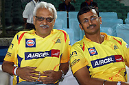 CSK supporters during the first semi-final match of the Karbonn Smart Champions League T20 (CLT20) 2013  between the Rajasthan Royals and the Chennai Super Kings held at the Sawai Mansingh Stadium in Jaipur on the 4th October 2013. Photo by Jacques Rossouw-CLT20-SPORTZPICS<br /> <br /> Use of this image is subject to the terms and conditions as outlined by the CLT20. These terms can be found by following this link:<br /> <br /> http://sportzpics.photoshelter.com/image/I0000NmDchxxGVv4