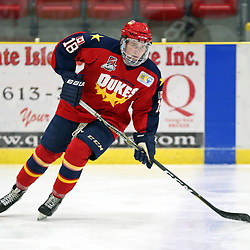 WELLINGTON, ON - SEPTEMBER 28: Eddy Keenan #18 of the Wellington Dukes participates in the pre-game warmup on September 28, 2018 at Wellington and District Community Centre in Wellington, Ontario, Canada.<br /> (Photo by Ed McPherson / OJHL Images)