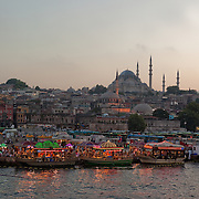 "In the evening in Istanbul, brightly lit fish boats beckon with a promise of a savory treat. For about a century, fishermen have been bringing their catch from the Bosphorus and the Sea of Marmara to Istanbul's Galata Bridge over the Golden Horn for sale. Shouting: ""Balık ekmek! Balık ekmek!"" (Fish in bread! Fish in bread!) a lively scene unfolds at the base of the Süleymaniye Mosque."