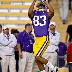 November 13, 2010; Baton Rouge, LA, USA; LSU Tigers tight end Mitch Joseph (83) during warm ups prior to kickoff of a game against the Louisiana Monroe Warhawks at Tiger Stadium.  Mandatory Credit: Derick E. Hingle