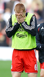 LIVERPOOL, ENGLAND - Saturday, January 26, 2008: Liverpool's John Arne Riise warms-up before the FA Cup 4th Round match against Havant and Waterlooville at Anfield. (Photo by David Rawcliffe/Propaganda)